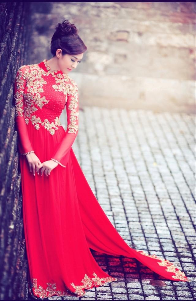 Mẫu áo dài cho cô dâu có vóc dáng cao