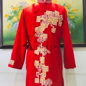 Áo dài chú rể đỏ