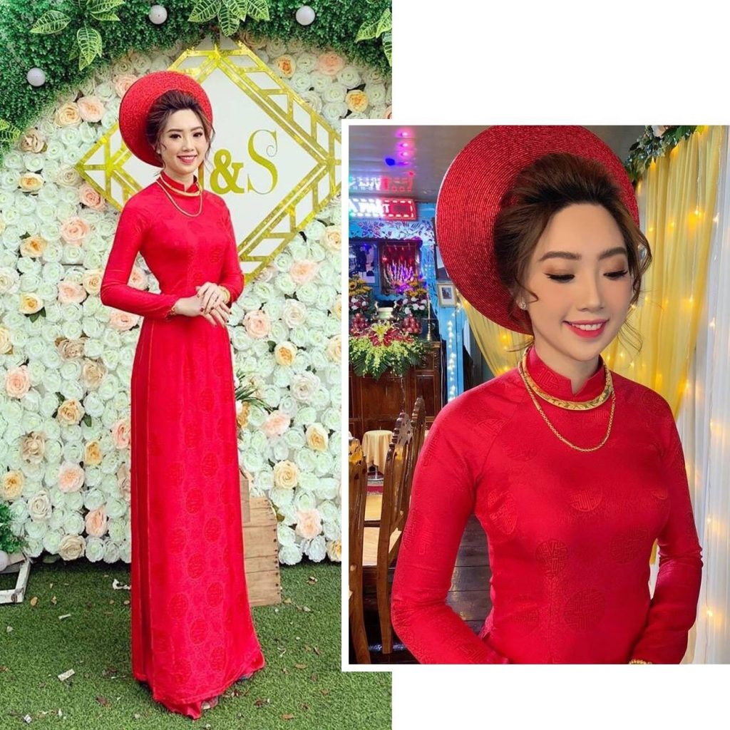 Áo dài cưới đỏ trơn của Tài Lộc trang nhã mà lịch sự
