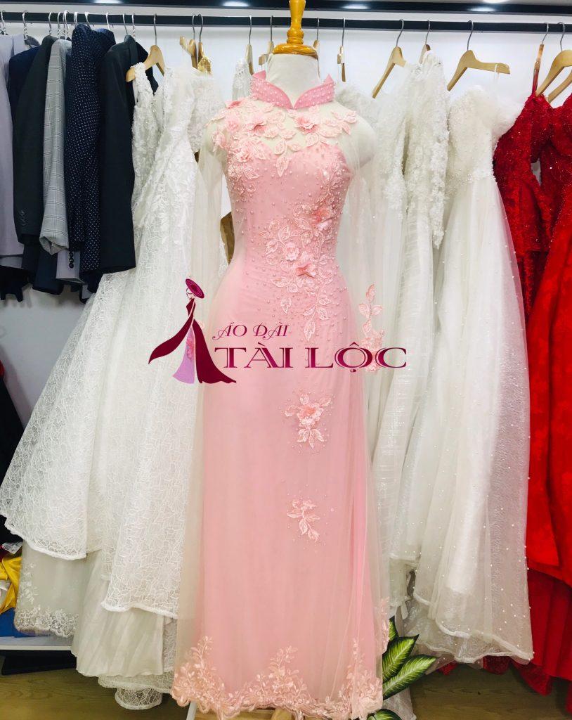 Mẫu áo dài cưới màu hồng