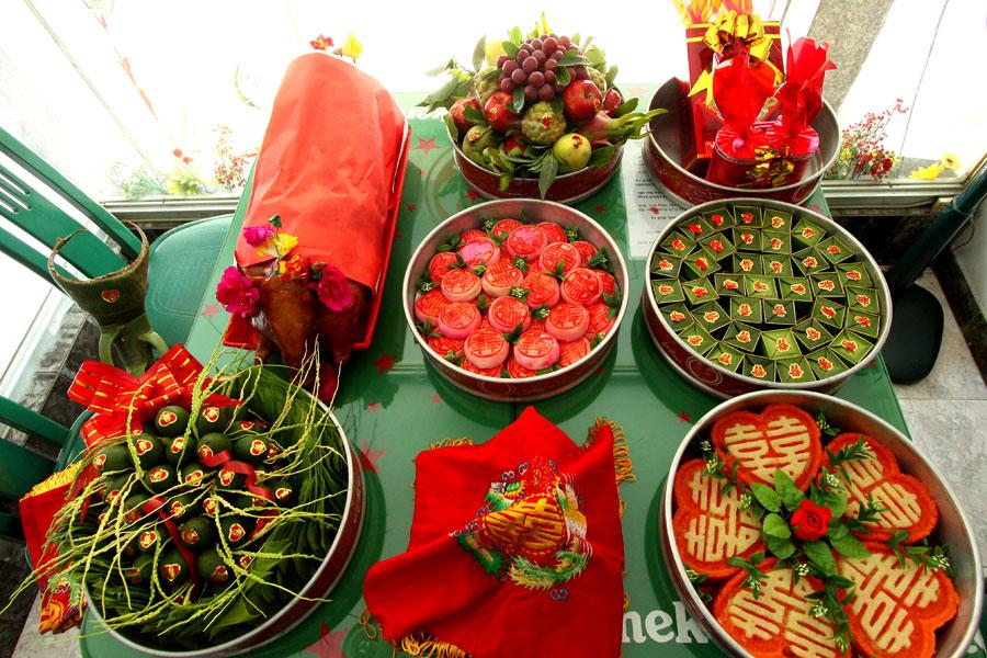 Ảnh Mâm Quả : Ngày cưới có bao nhiêu mâm quả(Cre.Jong Aphuong)