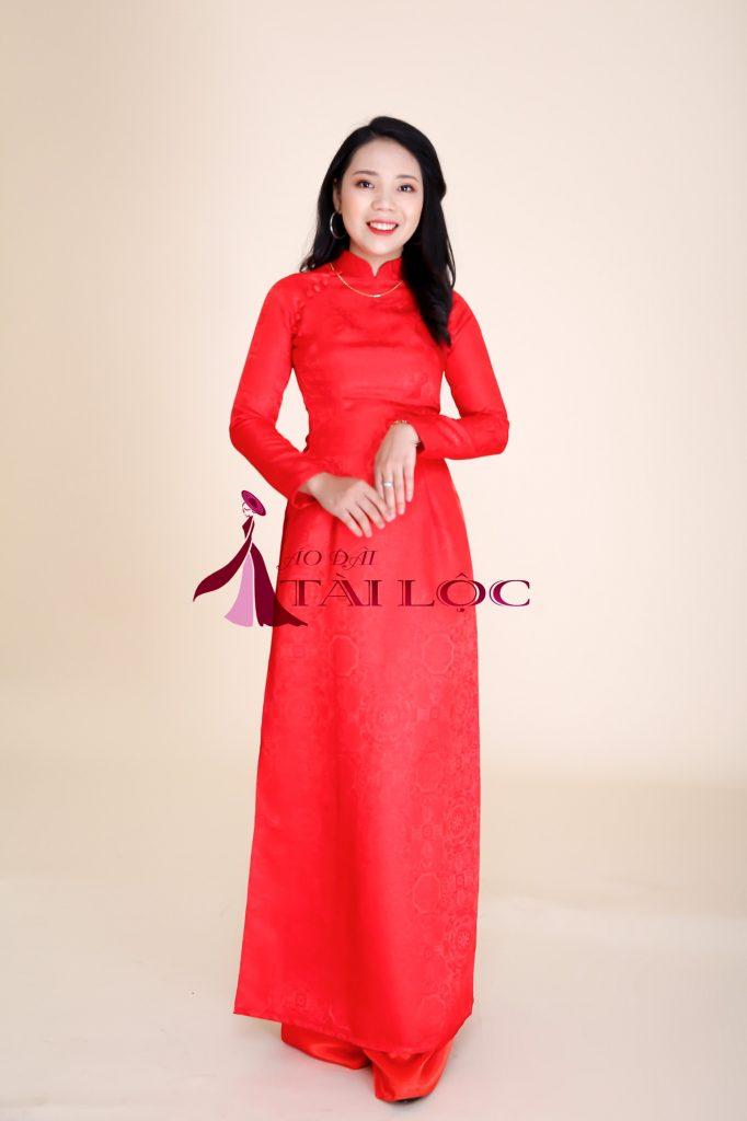 Áo Dài Cưới Trơn Màu Đỏ Trơn Vải Gấm