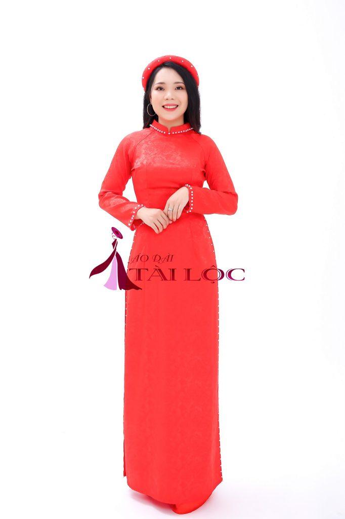 Mẩu : Áo Dài Cưới Đỏ Trơn