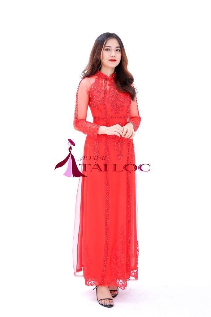 Áo dài cưới màu đỏ vải lưới