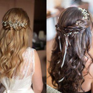 Kiểu tóc cô dâu buộc nửa đơn giản mà duyên dáng.