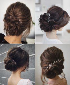Các kiểu tóc cô dâu búi thấp rất được các nàng ưu ái.