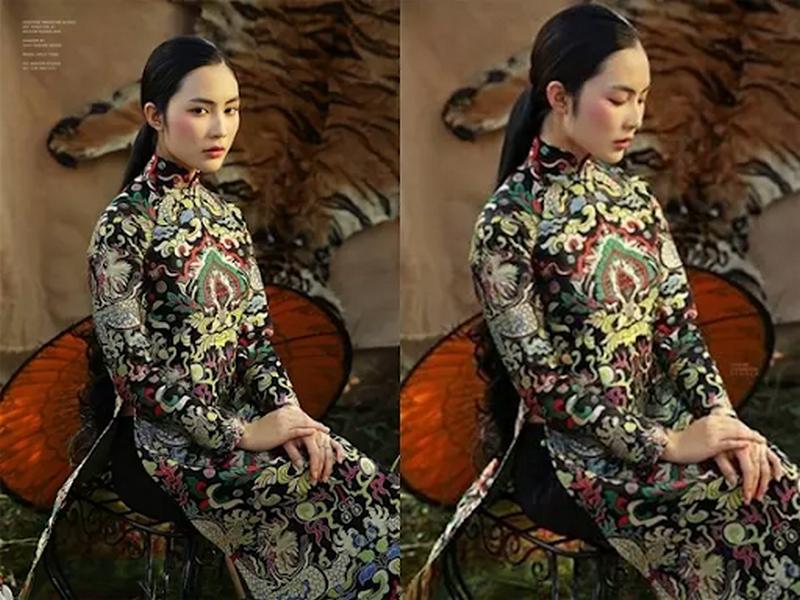 Những mẫu áo dài cách tân được may từ chất liệu gấm mang đến sự sang trọng cho người mặc