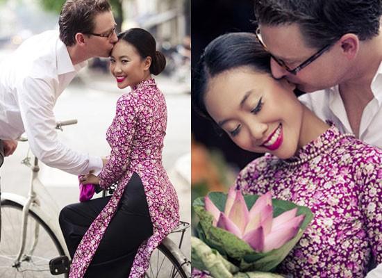 Áo dài họa tiết hoa nhí nổi bật trong bộ ảnh cưới ngoại cảnh. Ảnh: Internet