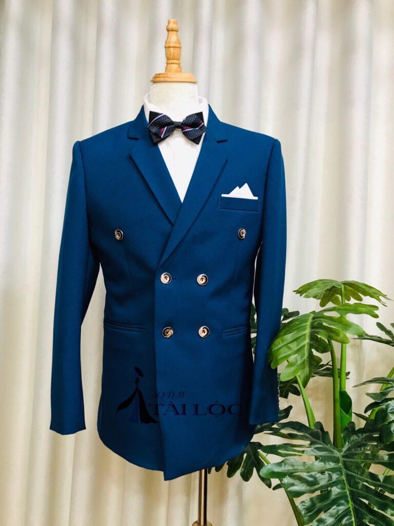 Áo vest nam màu xanh đen 6 nút