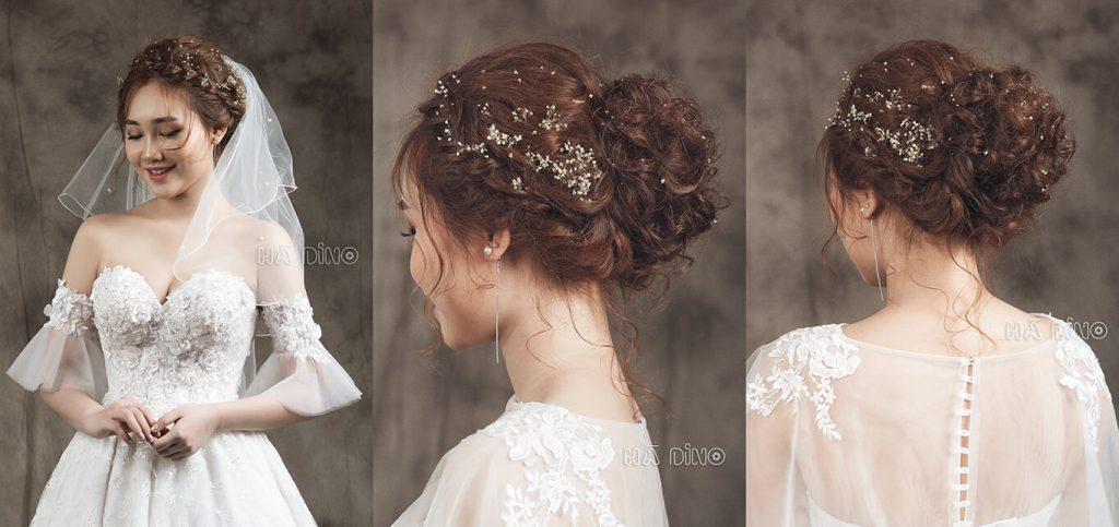 Các kiểu tóc tết bới cao sẽ thích hợp với những cô dâu có mái tóc dài.