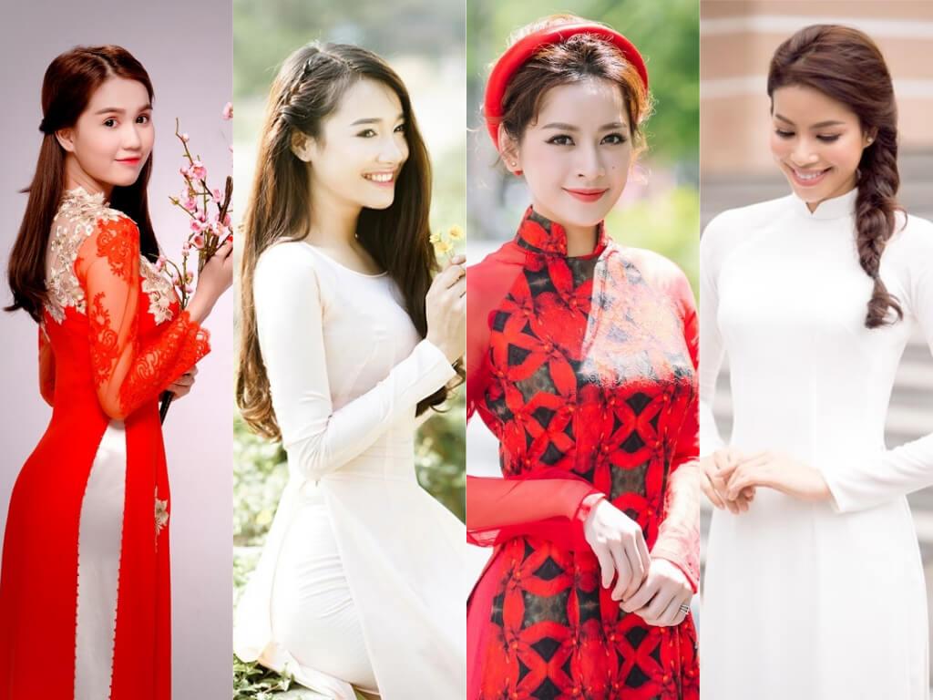 Bộ áo dài không chỉ tôn lên vóc dáng và nét dịu dàng của cô dâu mà còn khá dễ tạo kiểu tóc đẹp.