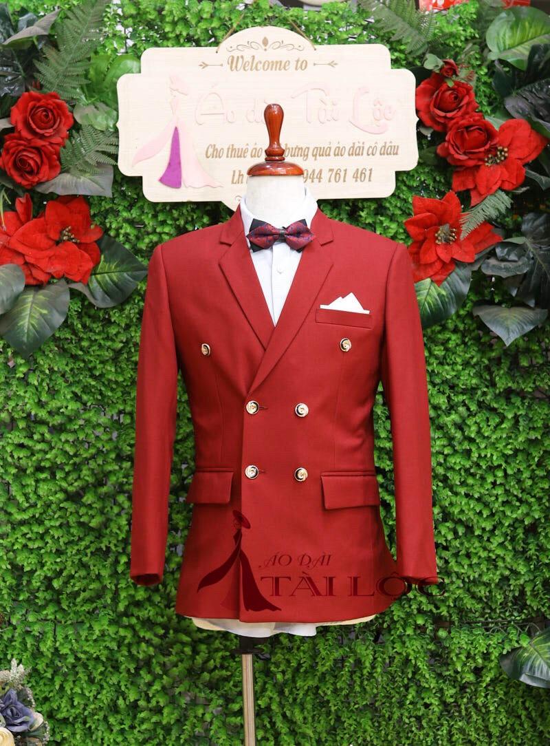 Áo vest nam màu đỏ 6 nút