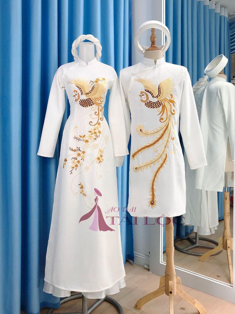 Mẩu áo dài cưới nam nữ màu trắng vải gấm